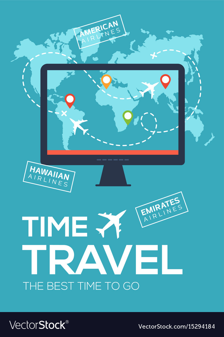 Banner poster of travel company time to travel