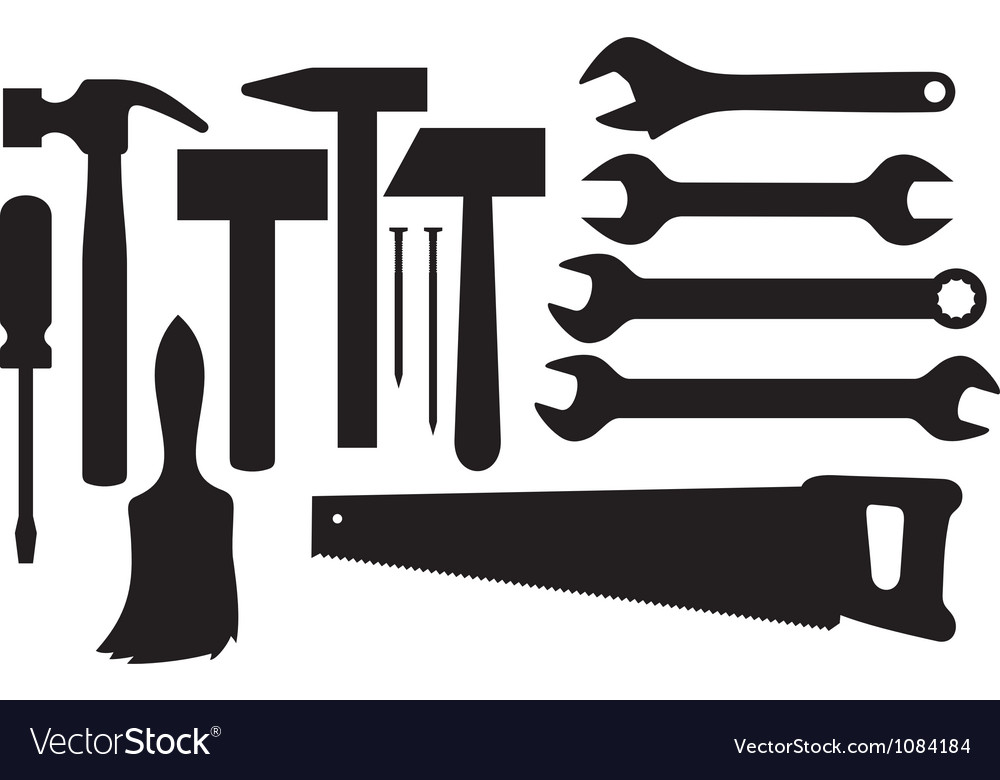 Black silhouettes of hand tools