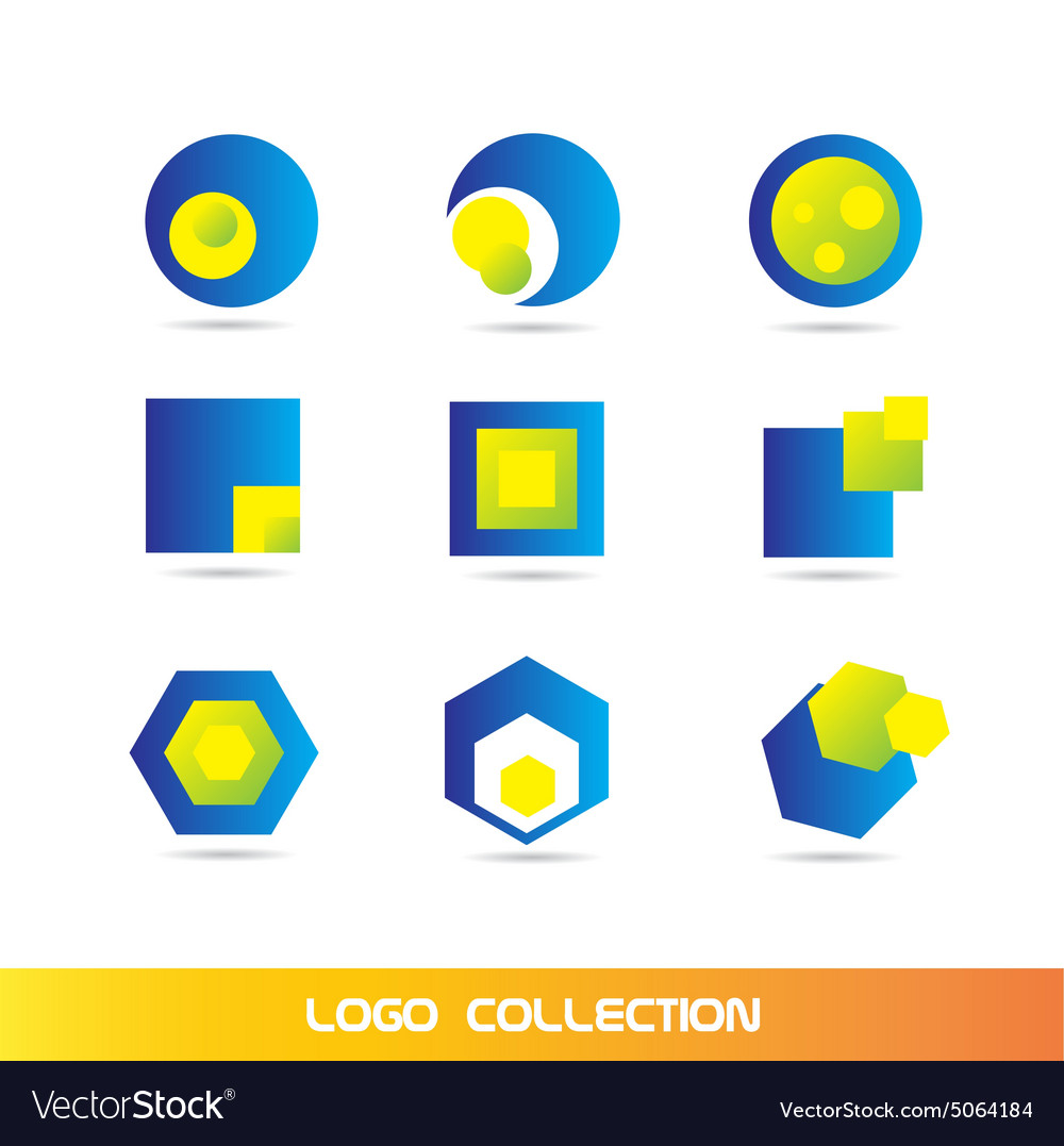 Blue yellow logo elements icon set collection
