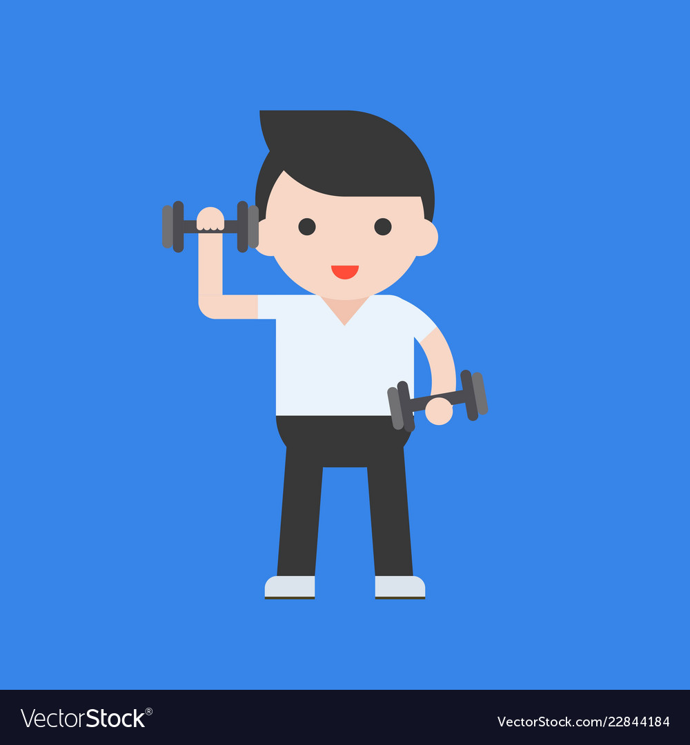 Cute character and dumbbell weight lifting set