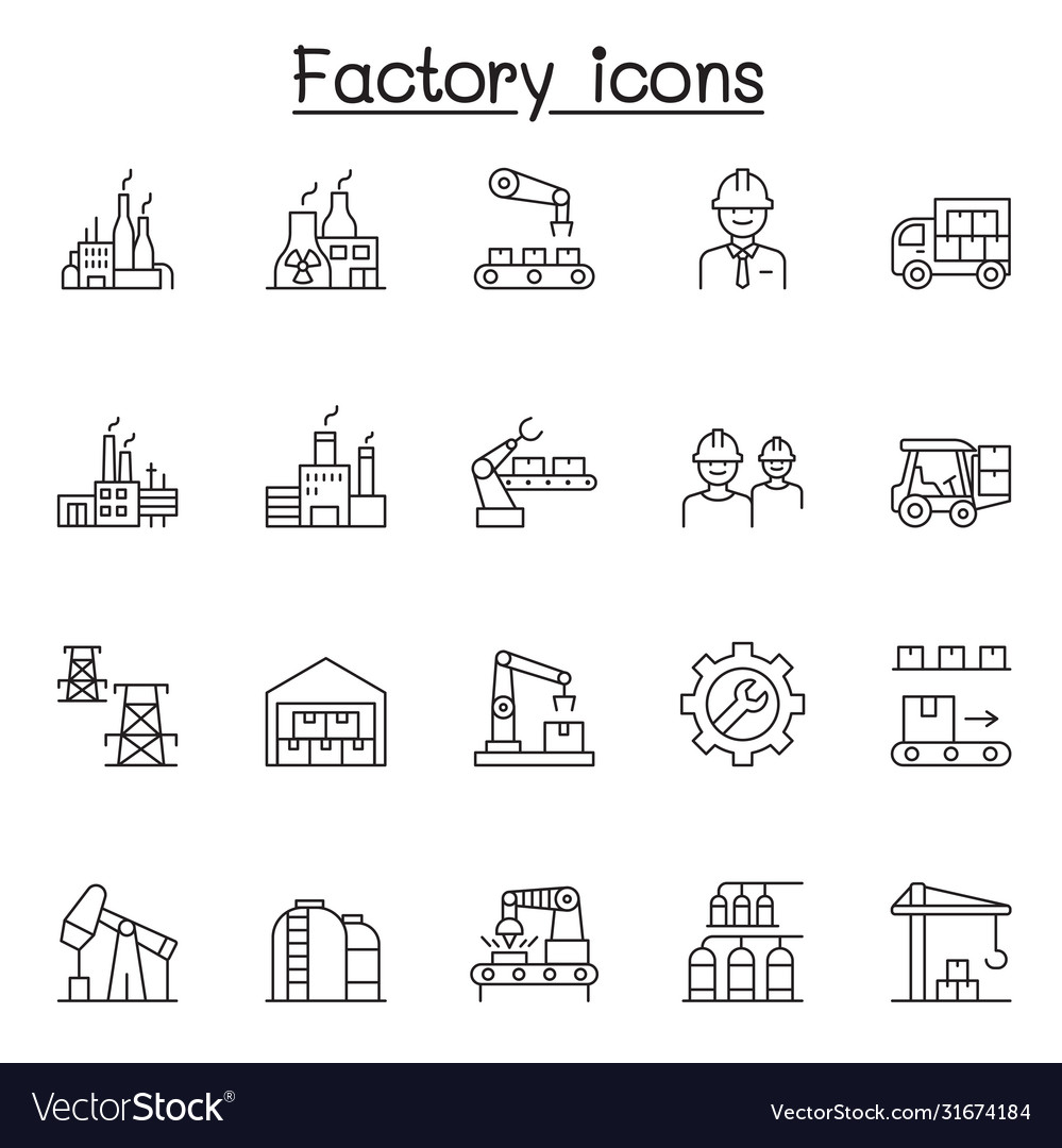 Factory industrial icons set in thin line style