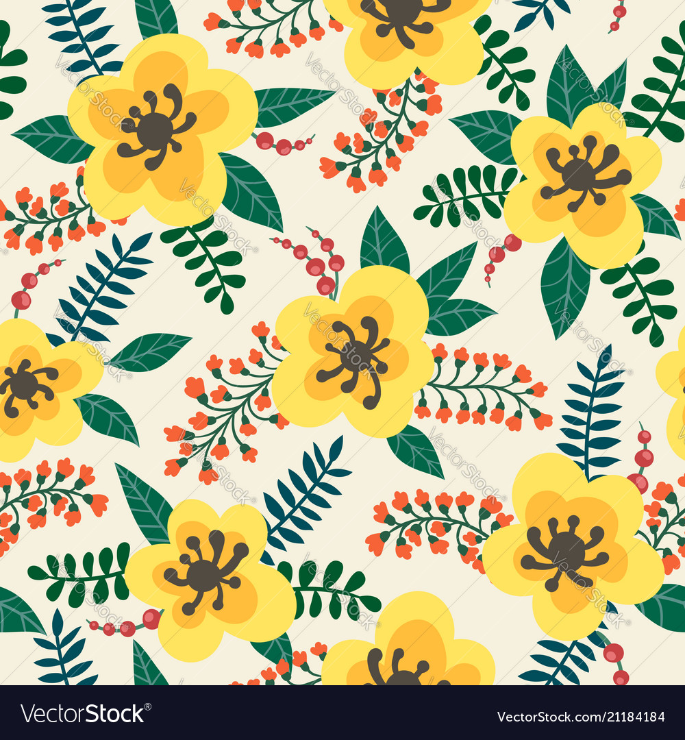 Floral Pattern Yellow Flowers Plants Branches Vector Image