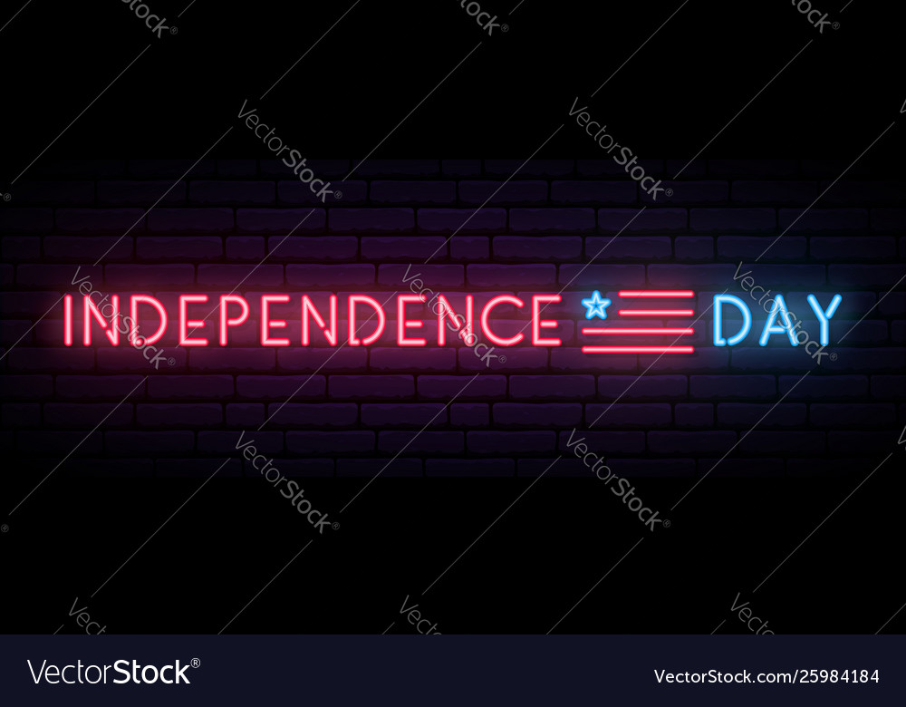 Long neon banner for independence day usa