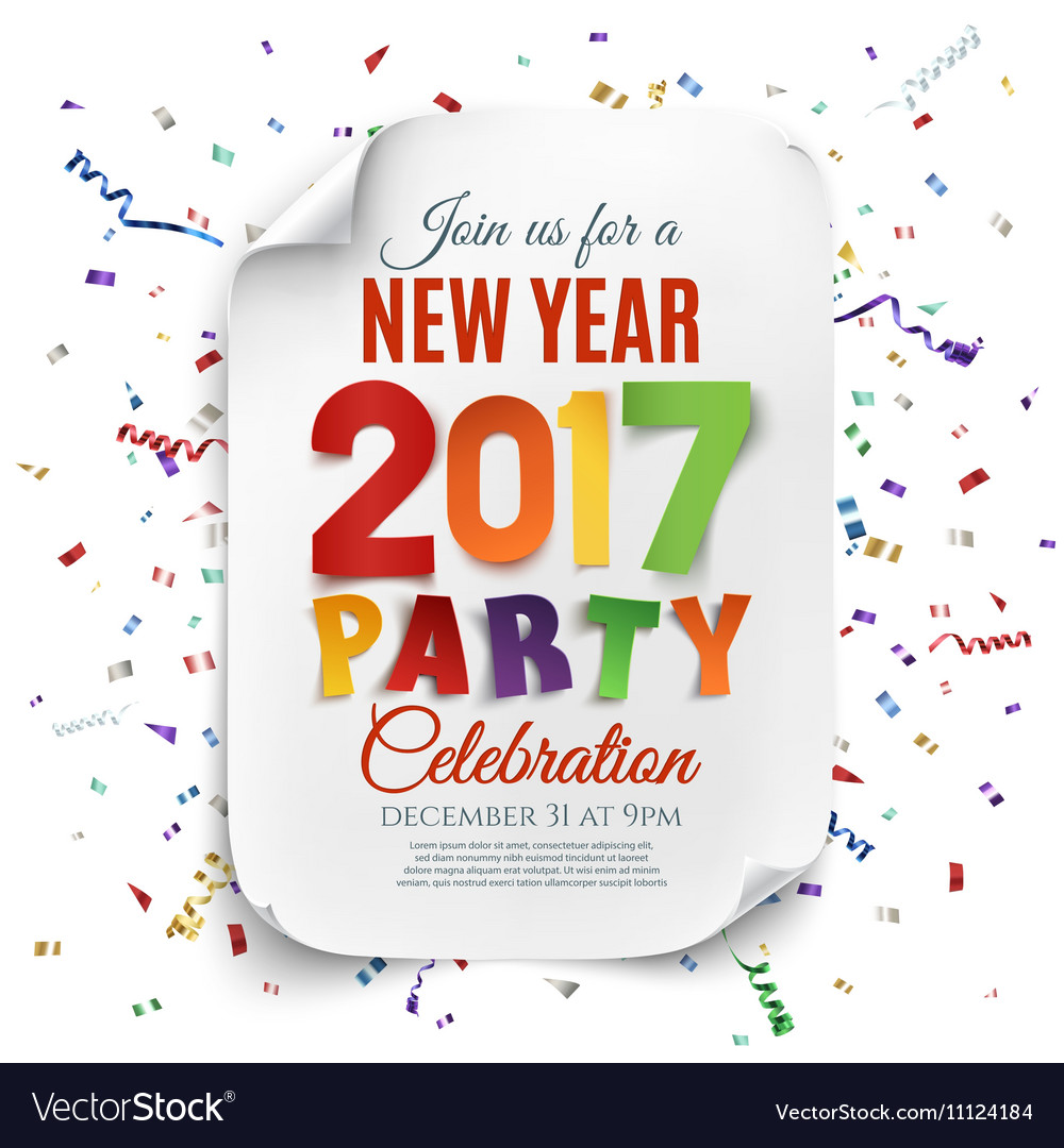 New Year party poster template with confetti