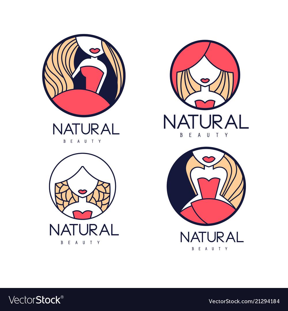 Original round emblems for beauty or hair salon