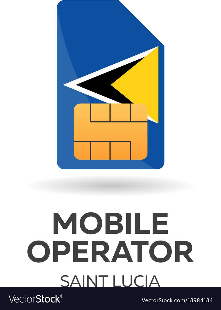 Saint lucia mobile operator sim card with flag