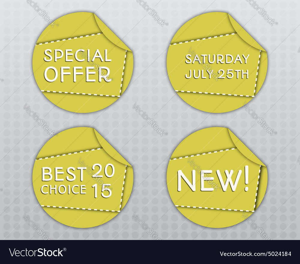 Special offer stickers Yellow design template