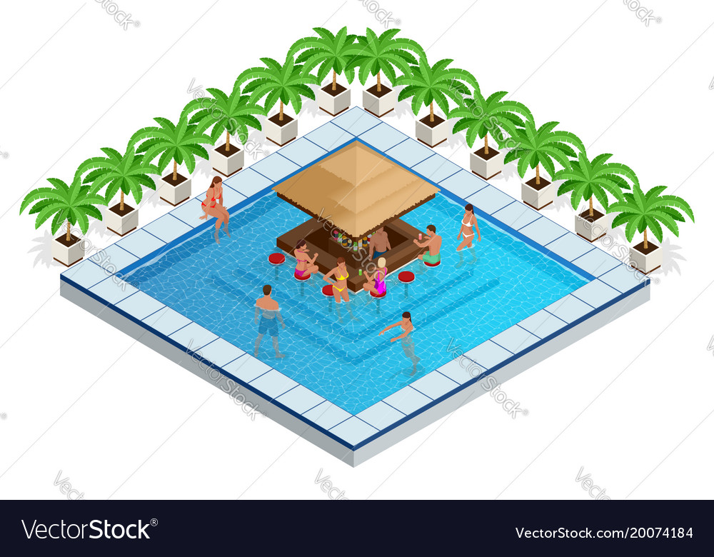 Swimming pool with bar isometric