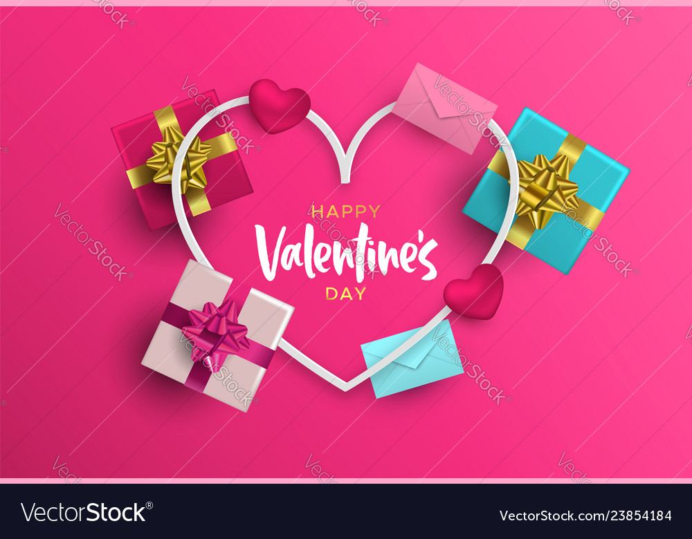Valentines day card frame of pink 3d love elements
