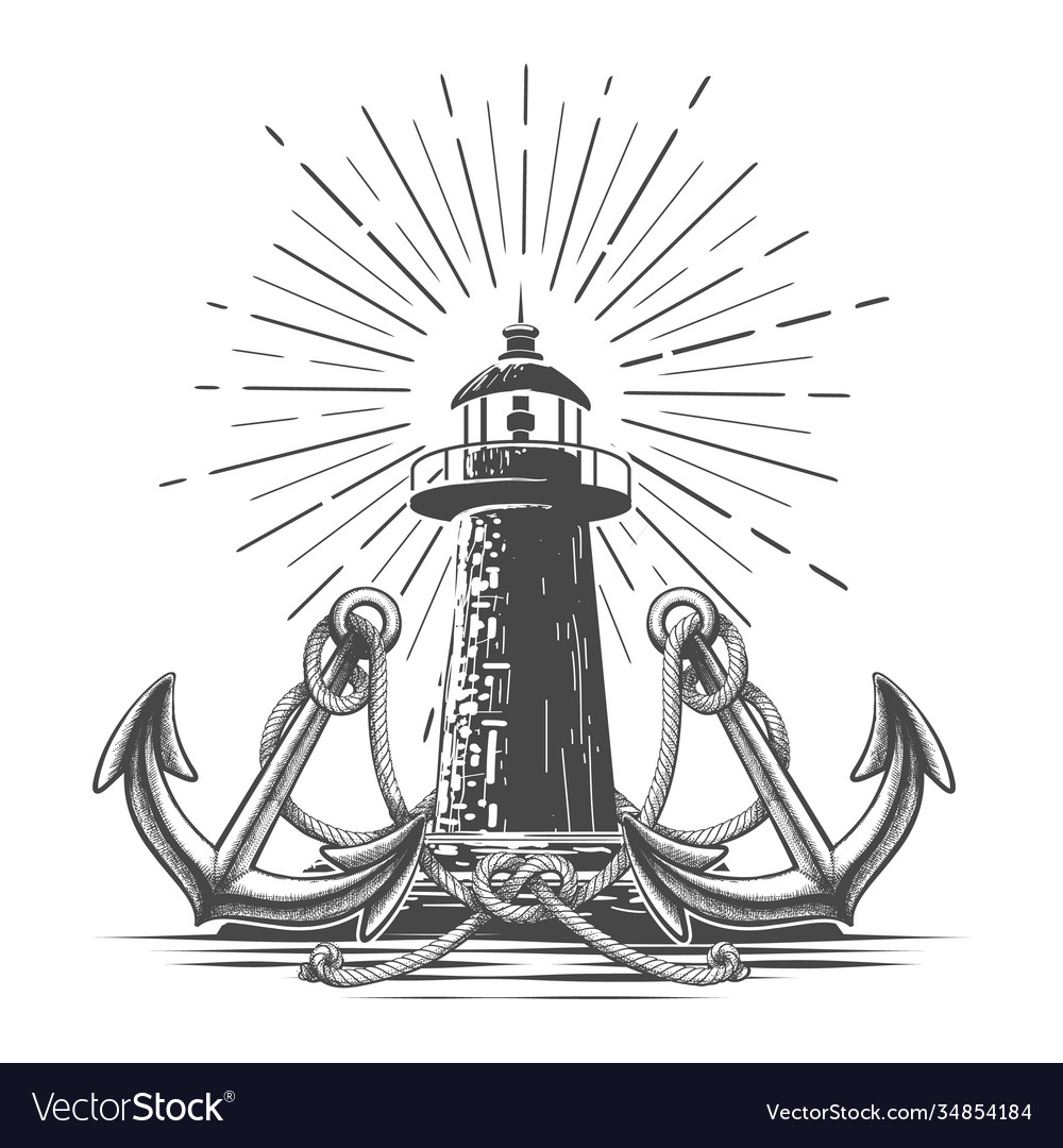 Vintage light house in engraving style