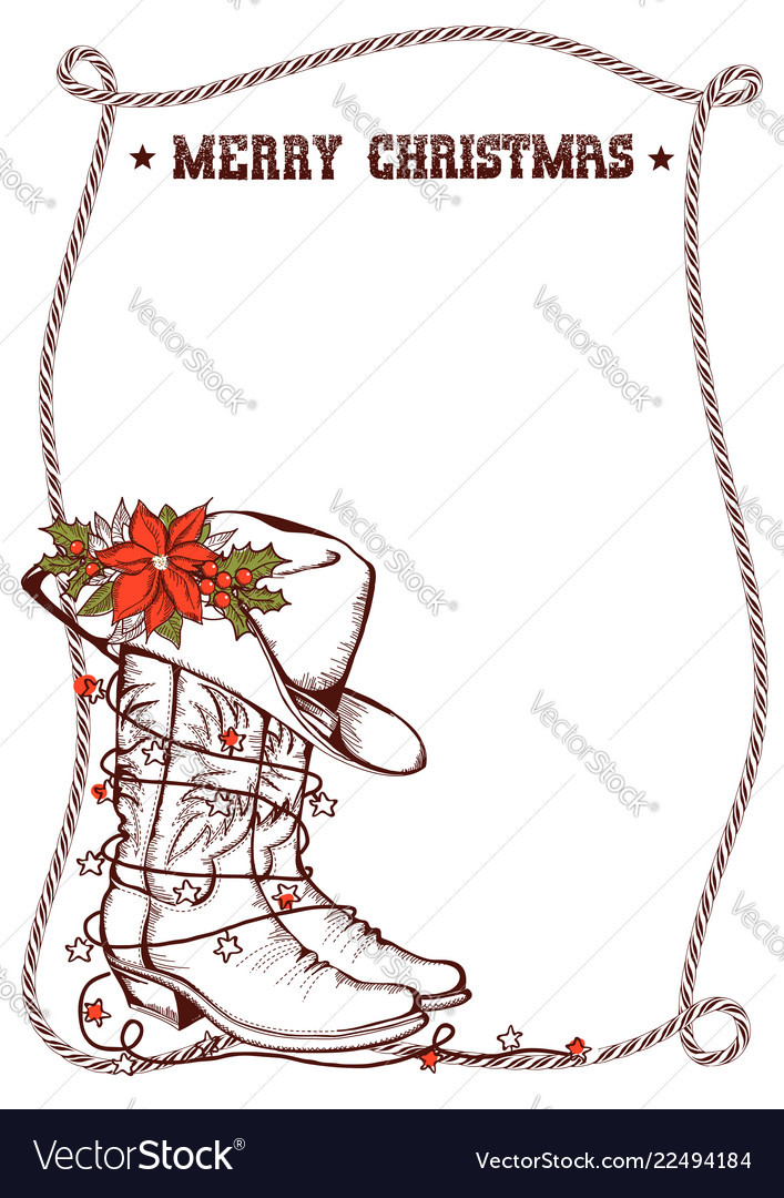 Western christmas greeting card with cowboy