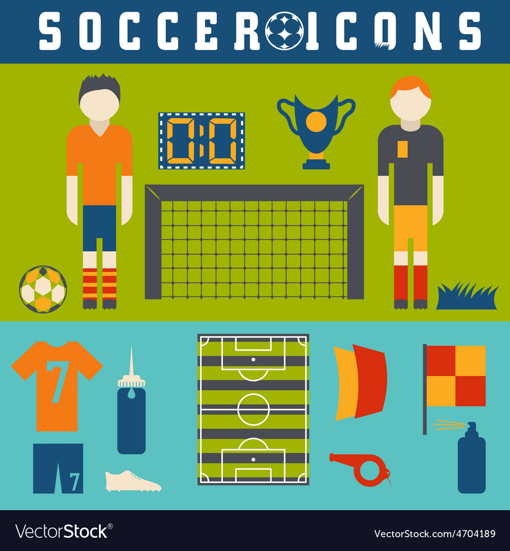 Collection of flat icons on the theme of football