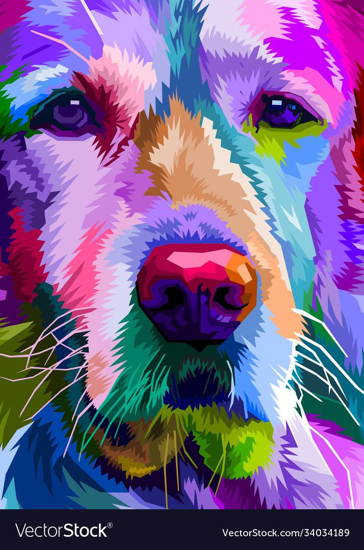 Colorful close up golden retriever dog on pop art