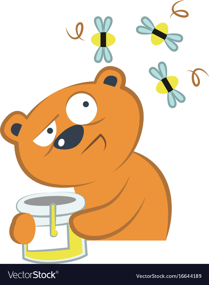 Cute bear with honey and bees