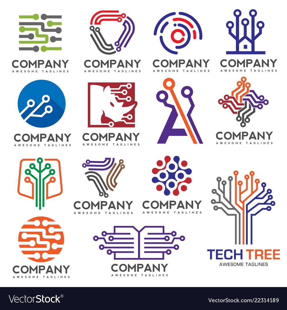 Digital electronics set logo design Royalty Free Vector