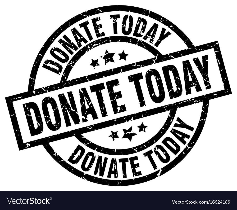 Donate today round grunge black stamp
