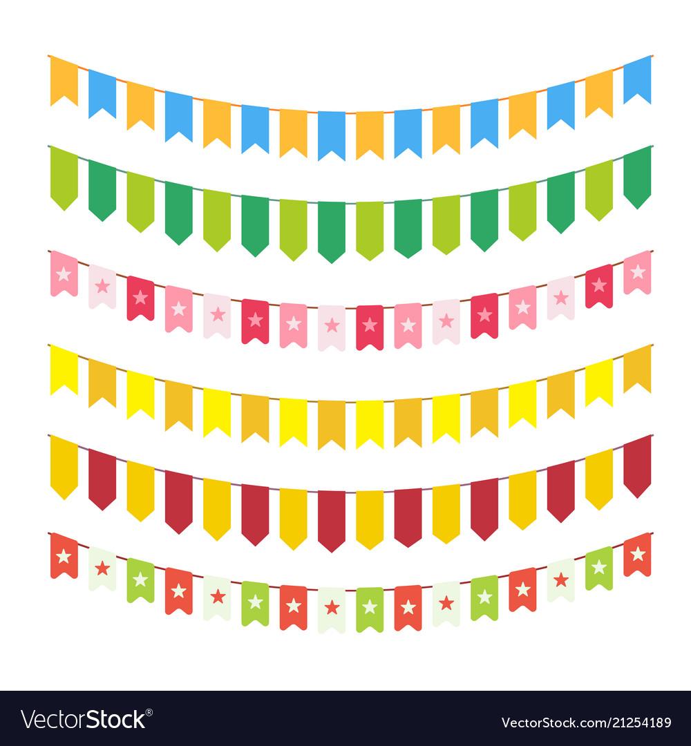 Flag garlands for invitation card design