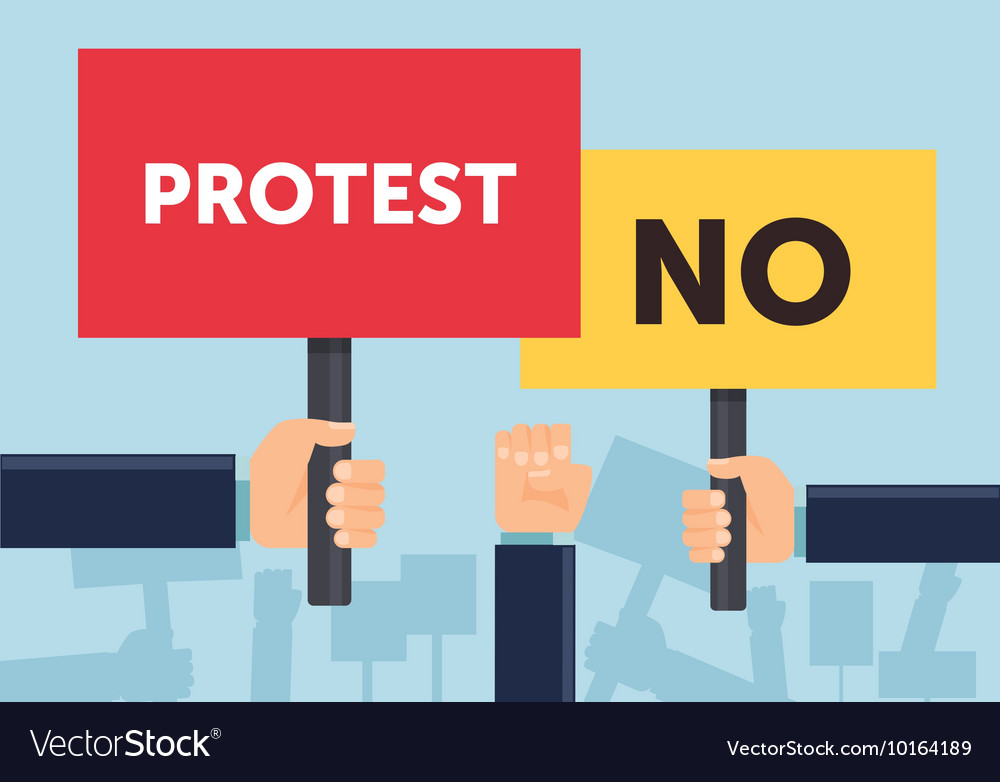 Hand holding protest sign flat