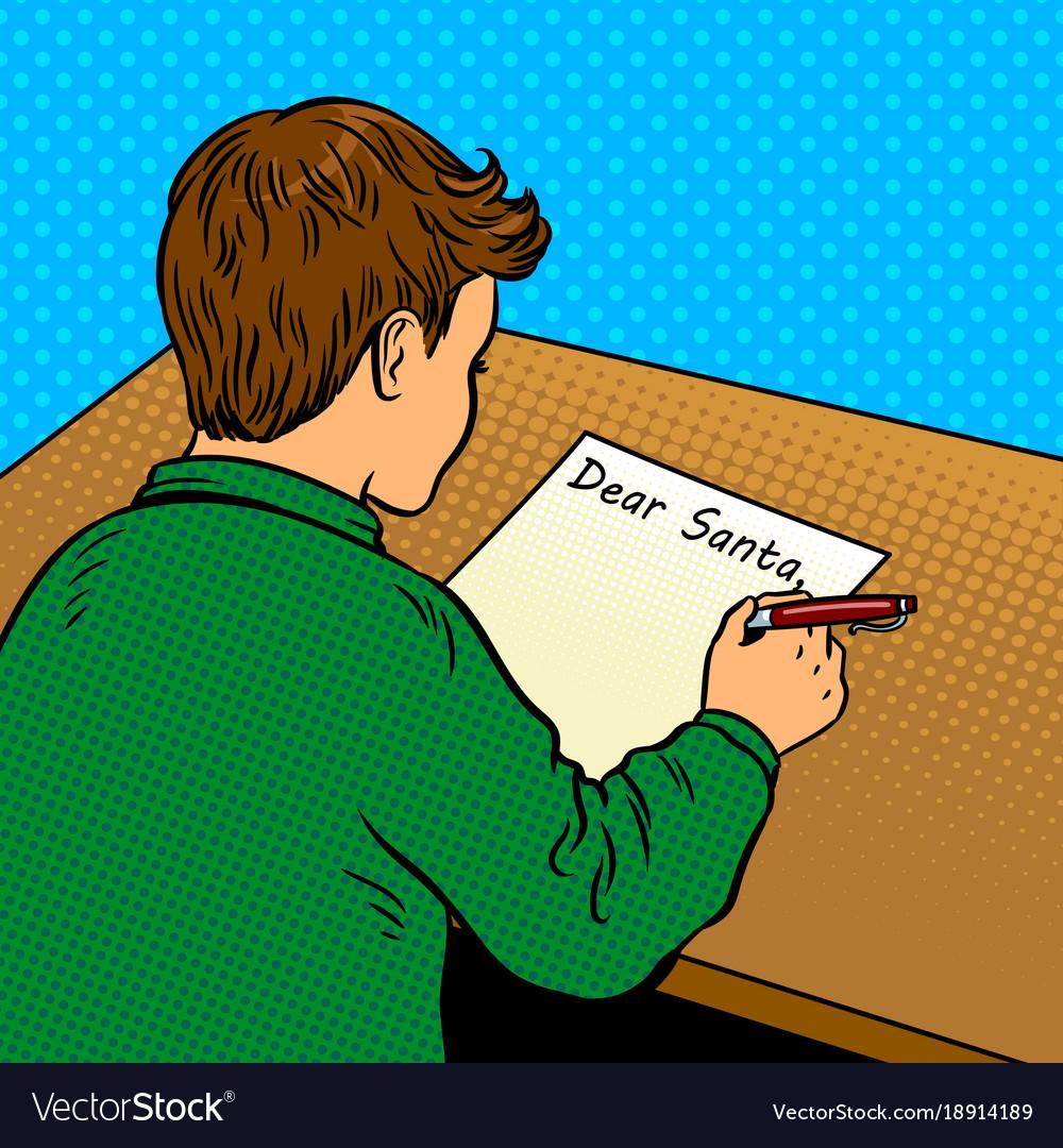 Kid writes to santa claus pop art