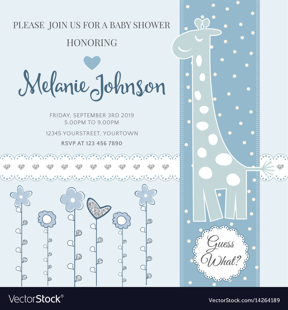 Lovely Baby Shower Card Template With Silver Vector Image
