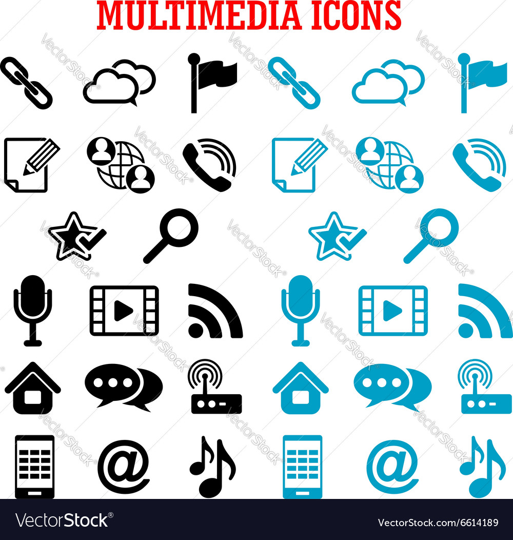 Multimedia and communication flat icons vector image