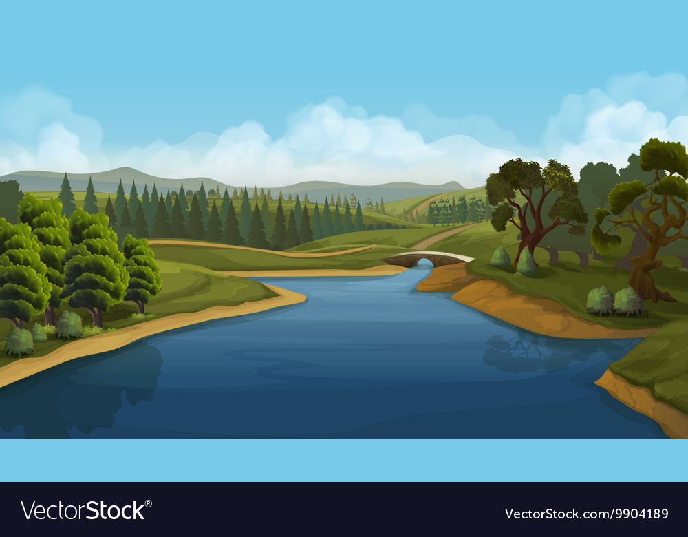 Nature landscape river background vector image