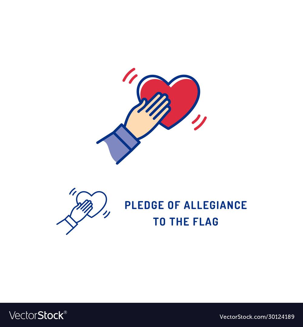 Pledge of allegiance to the flag usa icon thin