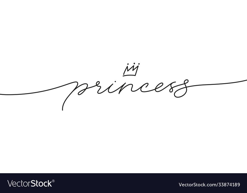 Princess elegant black calligraphy with crown