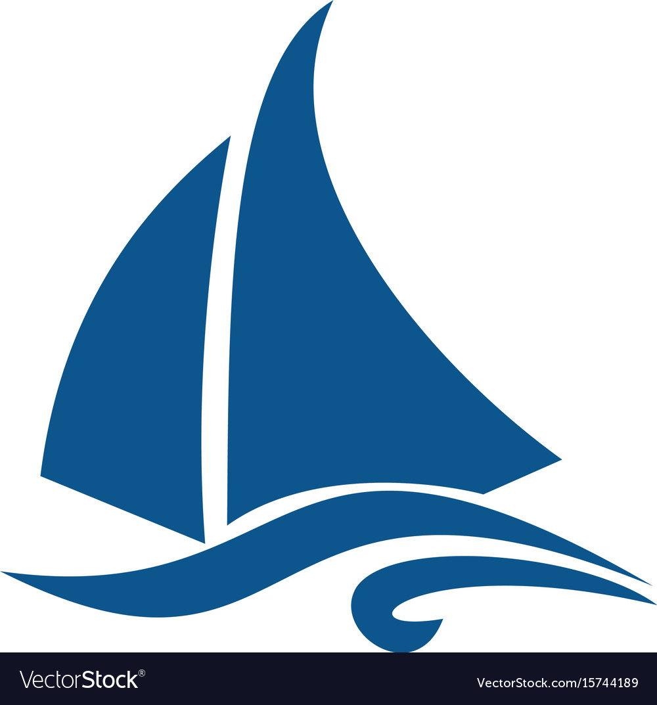 Sailing ship or yacht logo design Royalty Free Vector Image