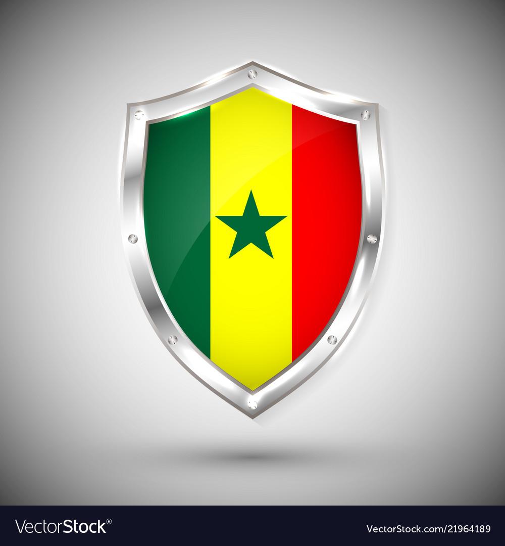 Senegal flag on metal shiny shield collection