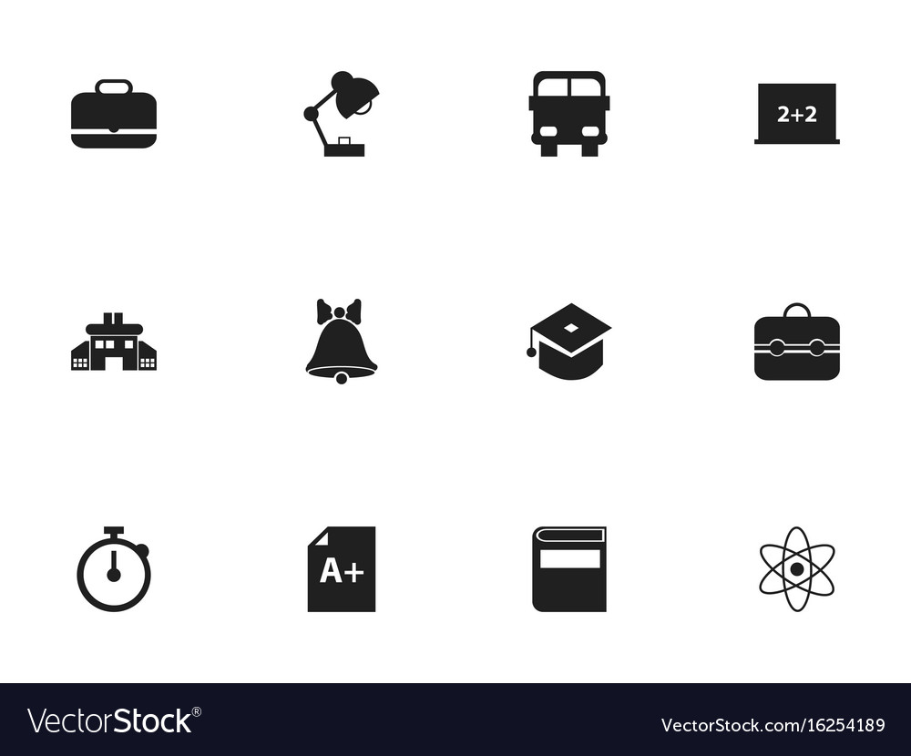 Set of 12 editable school icons includes symbols
