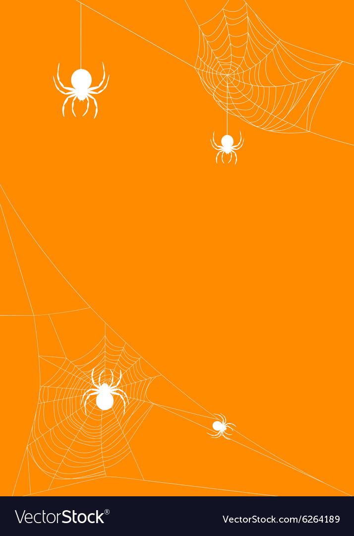 Spider webs on orange background vector image