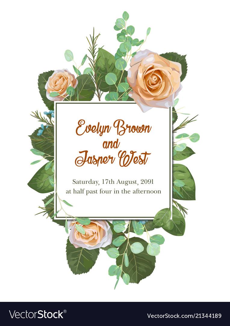 Square floral design frame garden flower creamy