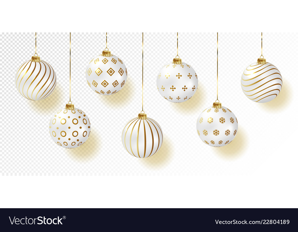 White color christmas balls icon set realistic