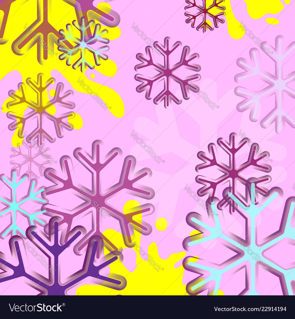 Abstract background with snowflake blue and pink