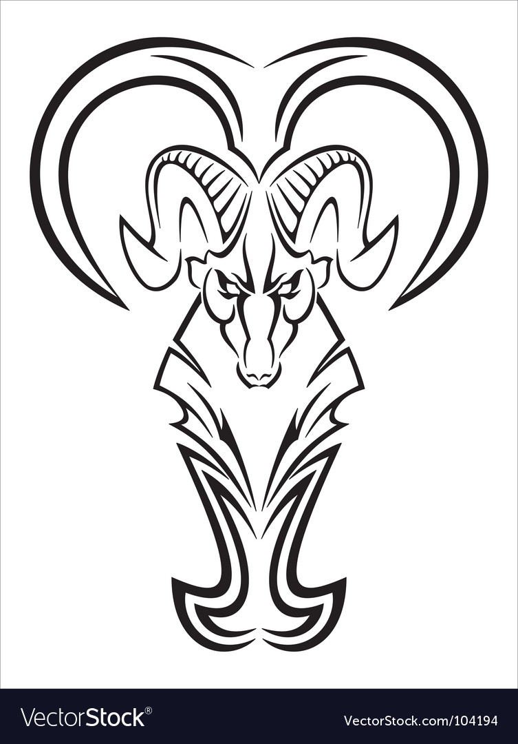 Black Aries tattoo pattern. Keywords: