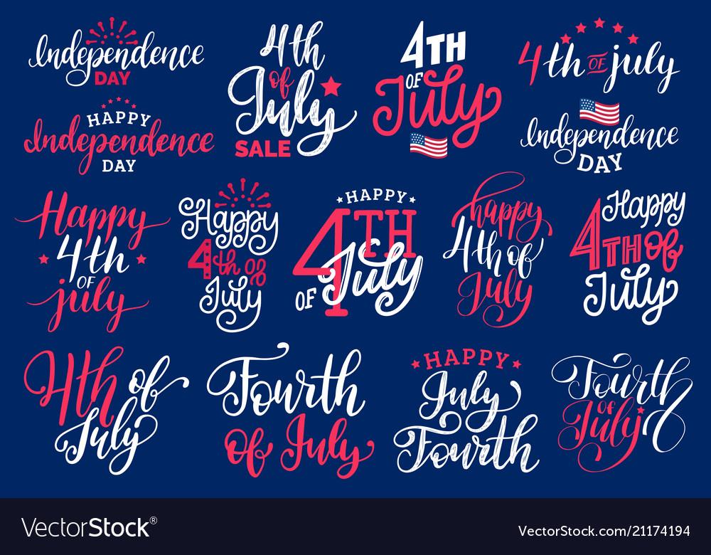 Fourth july handwritten phrases set