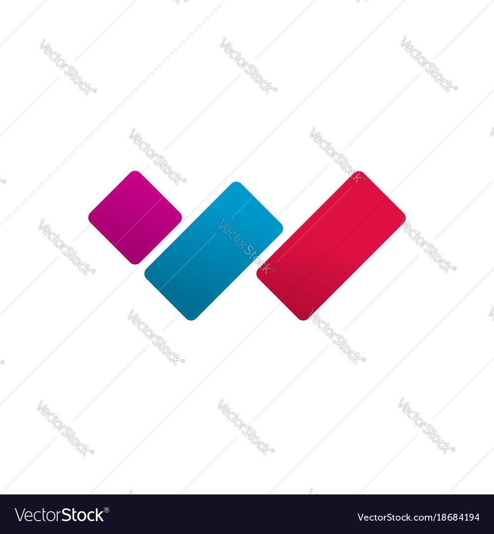 Letter w logo concept red blue violet