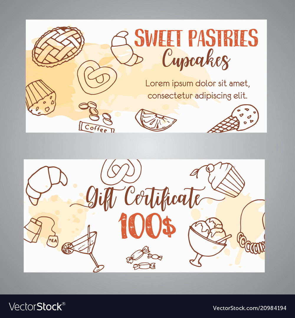Pastry gift voucher bakery horizontal banners
