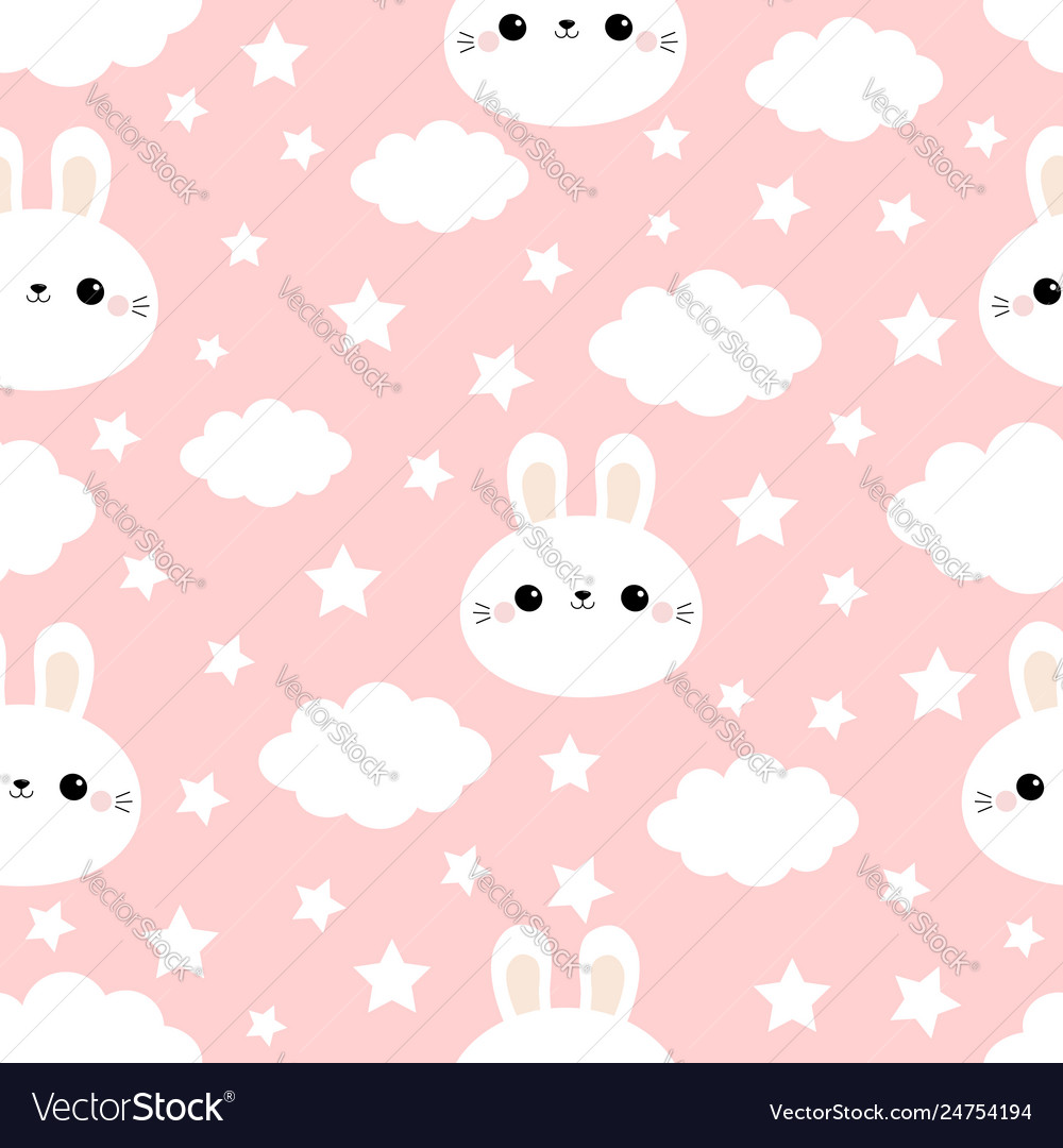 Rabbit bunny hare face cloud in sky seamless