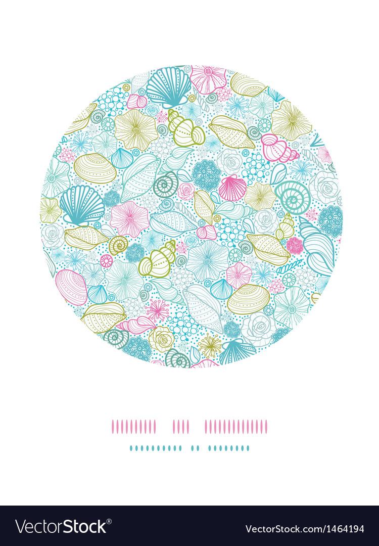 Seashells line art circle decor pattern background vector image