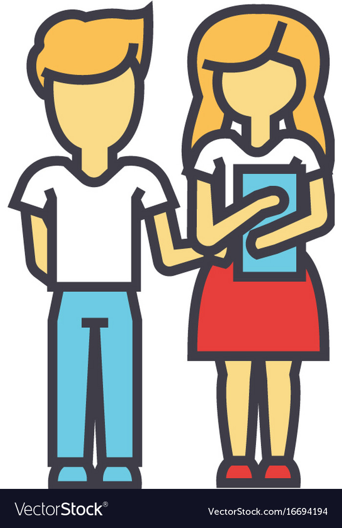 Teaching children school students boy and girl vector image