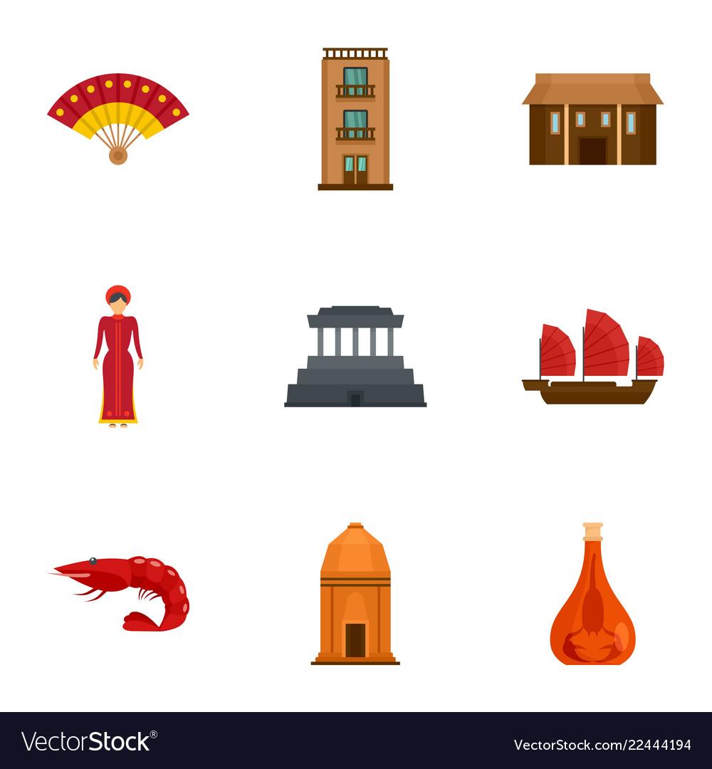 Vietnam tradition icon set flat style