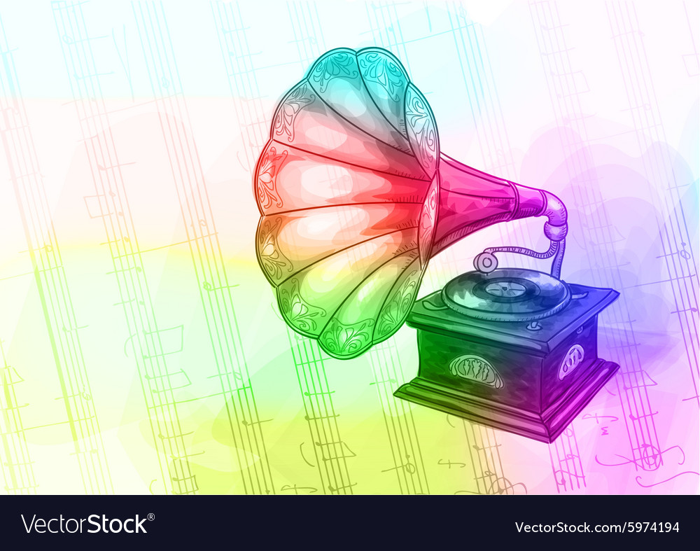 Vintage Gramophone in iridescen colours vector image