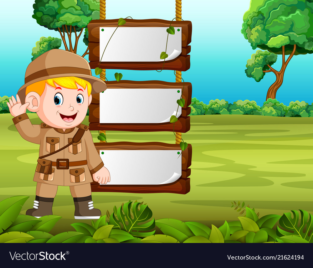 Young boy adventure with blank wood background
