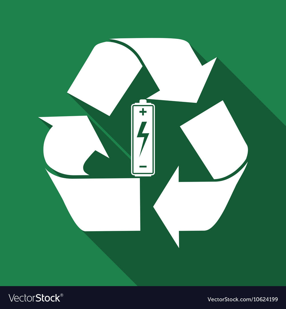 Battery With Recycle Symbol Renewable Energy Vector Image