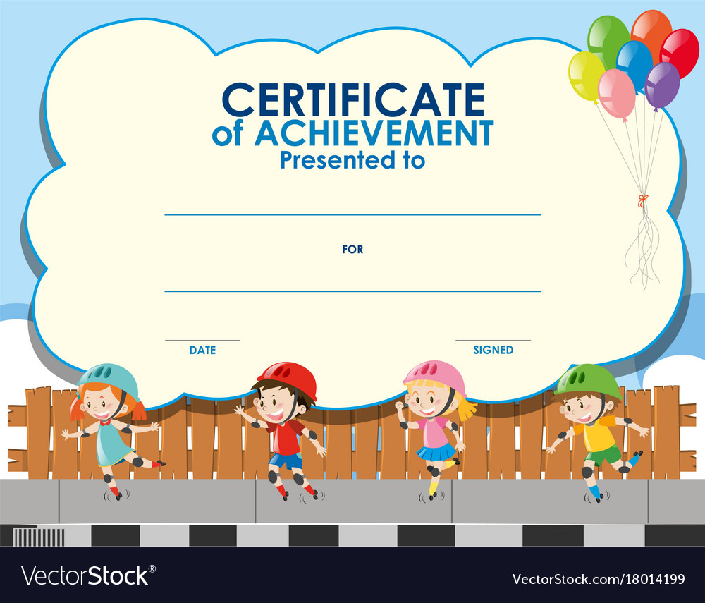 Certificate Template With Kids Skating Royalty Free Vector
