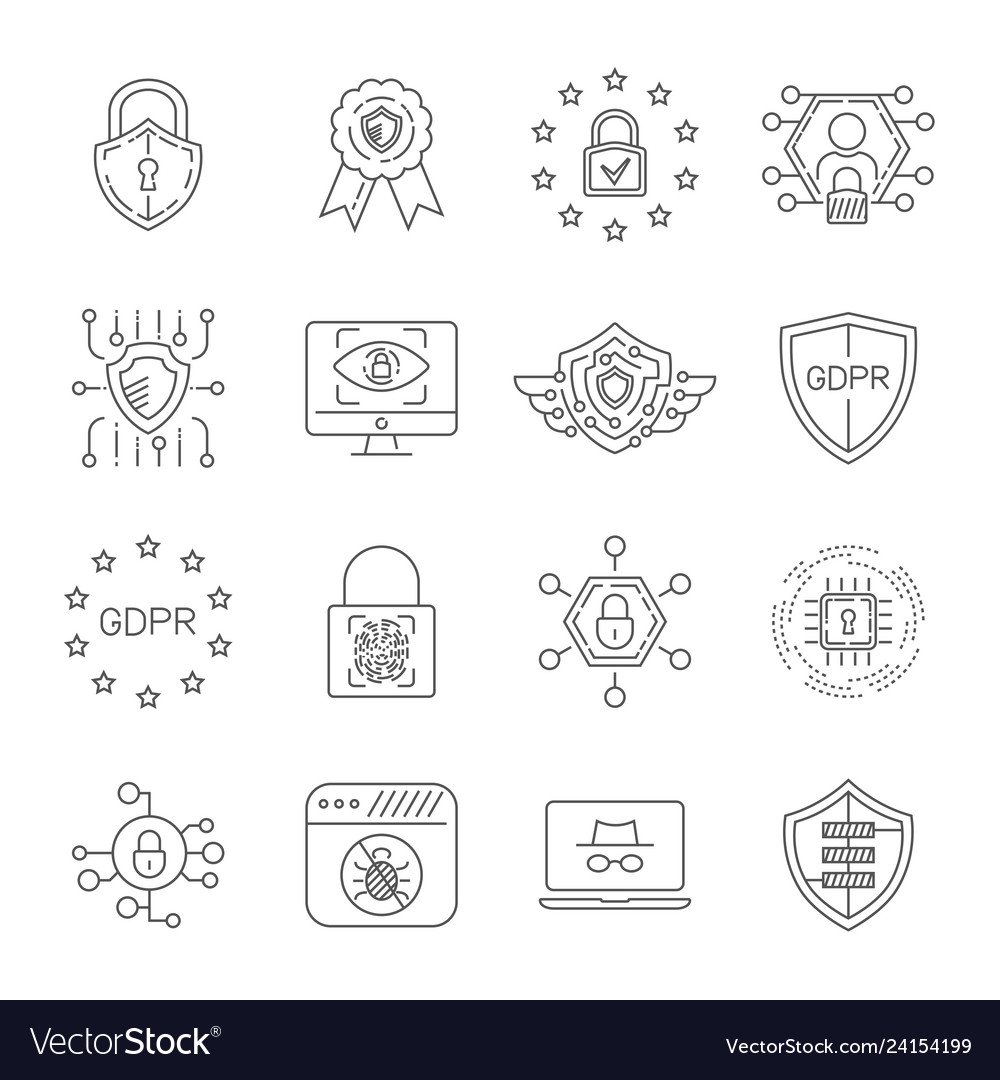Data protection and cyber security thin line icons