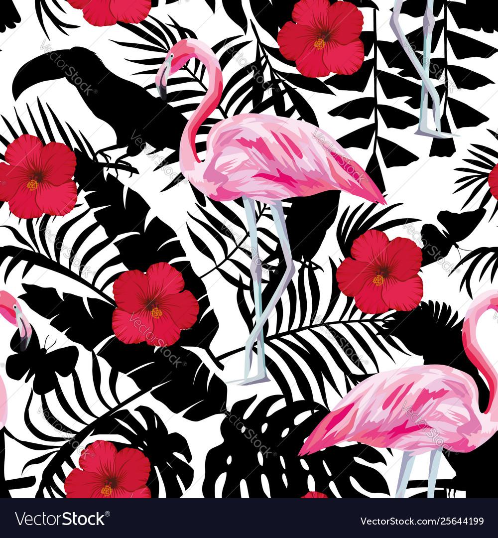 Flamingo hibiscus tropical background seamless