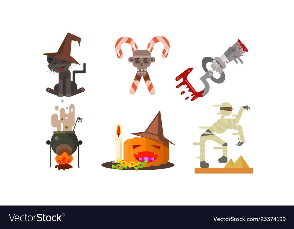 Halloween icons set black cat in a witch hat